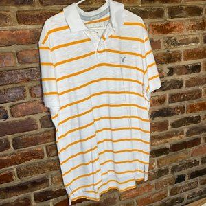 ♦️American Eagle Orange White Striped Polo Size XL